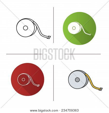Measuring Tape Icon. Flat Design, Linear And Color Styles. Sewing Meter. Tapeline. Isolated Vector I