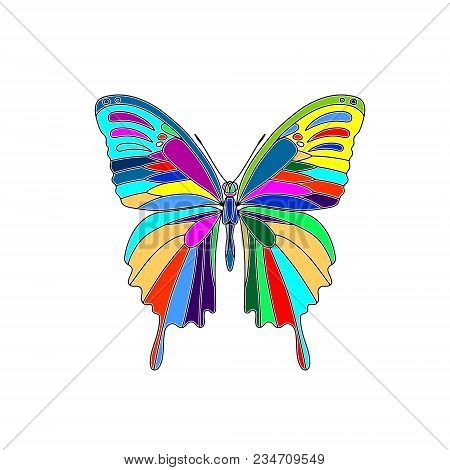 Vector. Abstract Polygonal Butterfly. Silhouette Mosaic Flat Butterfly
