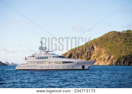 Yacht At Sea Coast On Sunny Blue Sky In Gustavia, St.barts. Yachting And Sailing Adventure. Luxury T