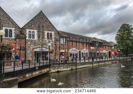Salisbury, United Kingdom -  August 03, 2015: Cityscape With River Avon, Riverside Walk, The Malting
