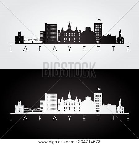 Lafayette Usa Skyline And Landmarks Silhouette, Black And White Design, Vector Illustration.