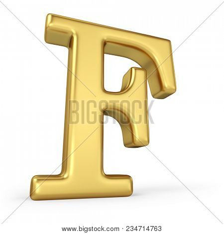 Gold Letter F Isolated on White Background. 3D Illustration. Golden Alphabet Collection.