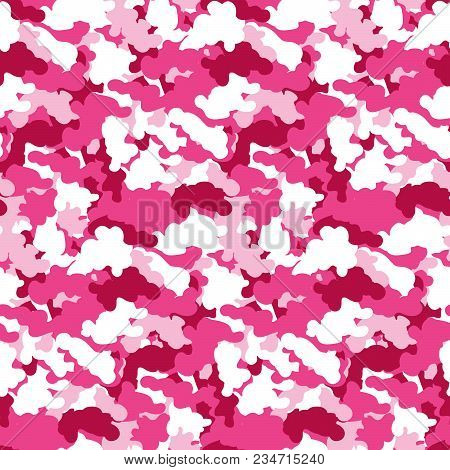 Pink Color Abstract Camouflage Seamless Pattern Background. Modern Military Style Camo Art Design Ba