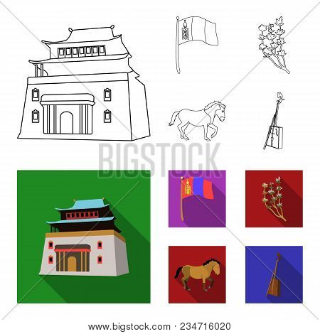 National Flag, Horse, Musical Instrument, Steppe Plant. Mongolia Set Collection Icons In Outline, Fl
