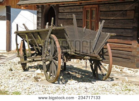 Old Wooden Cart, Historical Chariot On The Rural Farm
