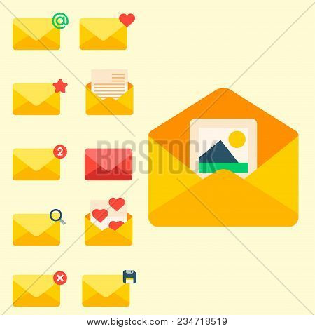 Email Envelope Cover Icons Communication Set And Office Correspondence Blank Cover Address Design Pa