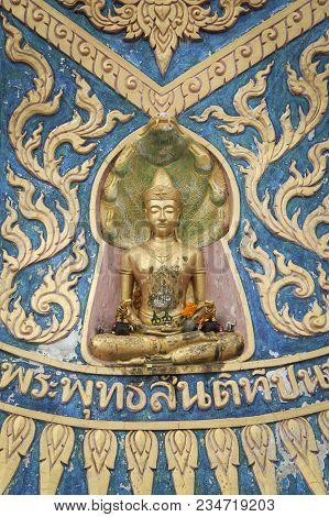 Seated Golden Buddha Wall Art In Wat Phra Yai The Temple Of The Big Buddha On Koh Samui Island In Th