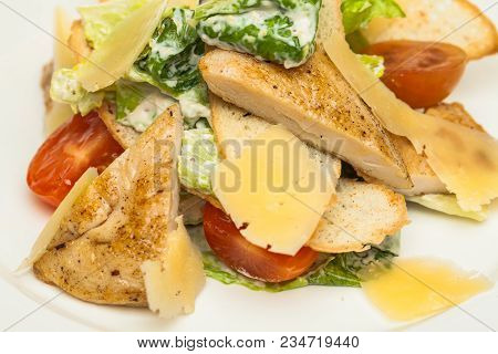 Chicken Salad Closeup. Chicken Caesar Salad. Caesar Salad With Grilled Chicken. Grilled Chicken Brea