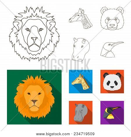 Panda, Giraffe, Hippopotamus, Penguin, Realistic Animals Set Collection Icons In Outline, Flat Style