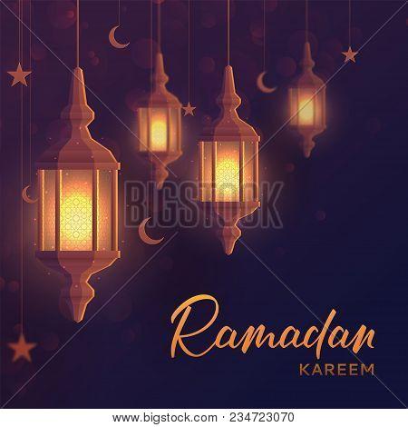 Ramadan Kareem Festive Background. Beautiful Greeting Card Design With Lantern Or Fanoos In Paper Ar