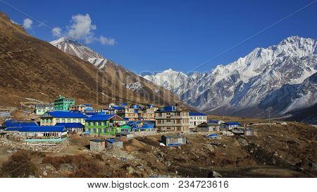 Beautiful Landscape In The Langtang Valley, Nepal. Snow Covered Mountains And Village Kyanjin Gumba.