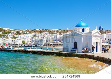 Mykonos, Greece - May 23, 2017: Typical Church Building On Main Square In Mykonos Town. Cyclades Isl