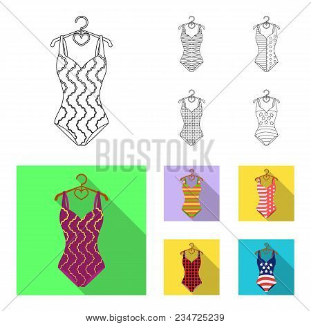 Different Kinds Of Swimsuits. Swimsuits Set Collection Icons In Outline, Flat Style Vector Symbol St