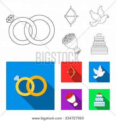 Arrow Cupid, Dove, Bouquet Of Flowers, Wedding Cake. Wedding Set Collection Icons In Outline, Flat S