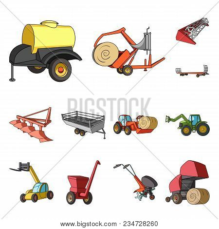 Agricultural Machinery Cartoon Icons In Set Collection For Design. Equipment And Device Vector Symbo