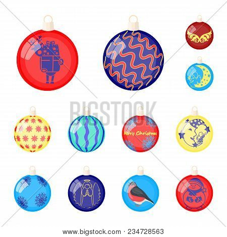 Christmas Toys Cartoon Icons In Set Collection For Design.new Year Balls Vector Symbol Stock Illustr