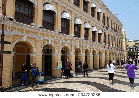 Macau, China- Mar 31, 2018: Historic Centre Of Macau-senado Square In Macau China. The Historic Cent
