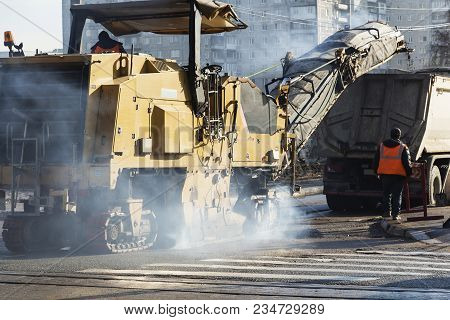 Tractor, Roller On The Road Repair Site. Road Construction Equipment. Road Repair Concept. Construct