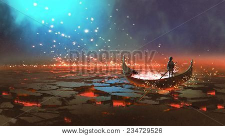 Fantasy World Scenery Showing A Boy Rowing A Boat In The Land Of Volcanic, Digital Art Style, Illust
