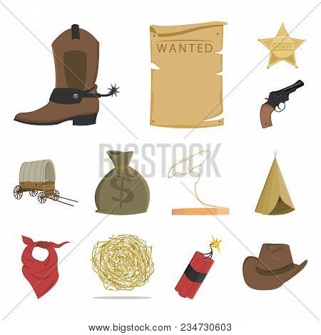 Attributes Of The Wild West Cartoon Icons In Set Collection For Design.texas And America Vector Symb