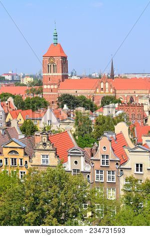 Gdansk, Poland. Top-view Of The Old Town In A Sunny Summer Day