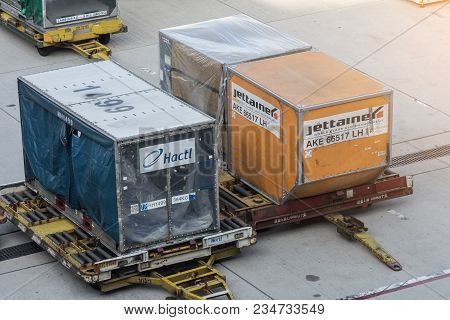 Kansai, Japan Oct 27,2017 : Cargo Containers Loaded Into An Airliner For Cargo And Baggage In Kansai