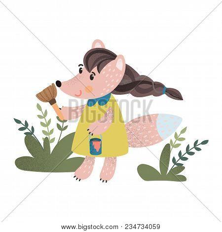 Little Cute Fox Hand Drawn Scandinavian Style Poster For Nursery. Stock Vector