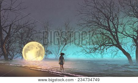 Night Scenery Of Young Woman Looking At The Fallen Moon On The Lake, Digital Art Style, Illustration