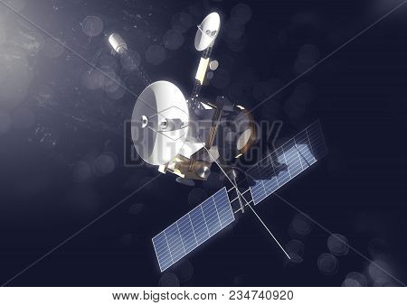 A Space Probe Exploring The Solar System. 3d Illustration.