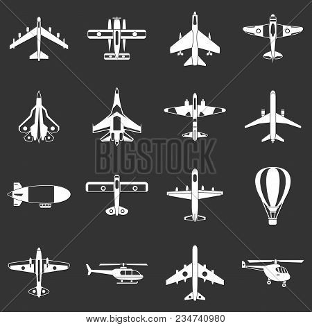 Aviation Icons Set Vector White Isolated On Grey Background