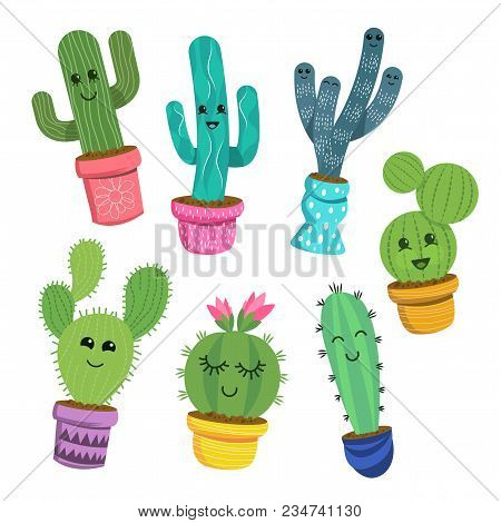 A Collection Of Cute And Cheerful Cactus Plant Characters In Colourful Pots. Vector Illustration.