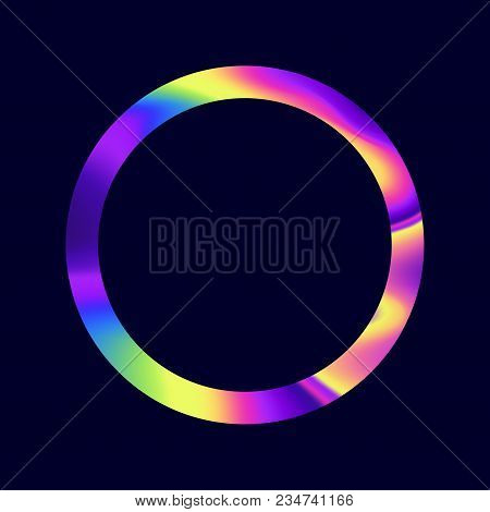 A Abstract Iridescent Oil Swirl Vector Hoop.