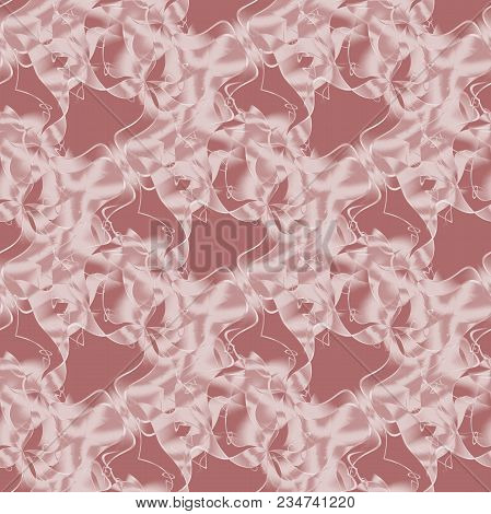 Abstract Seamless Geometric Background. Regular Intricate Wavy Lines Pattern Pink And White On Light
