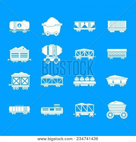 Railway Carriage Icon Set. Simple Set Of Railway Carriage Vector Icons For Web Design Isolated On Bl