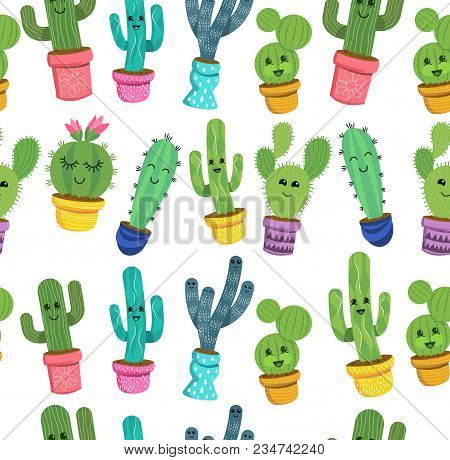 A Seamless Pattern Of Cute Cactus Plant Characters With Smiling Faces In Colourful Pots. Vector Illu