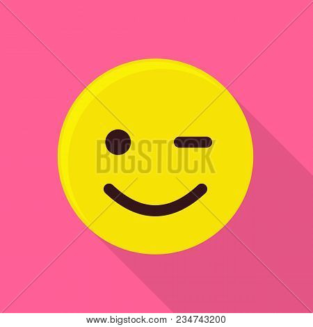 Winking Smiling Emoticon Icon. Flat Illustration Of Winking Smiling Emoticon Vector Icon For Web