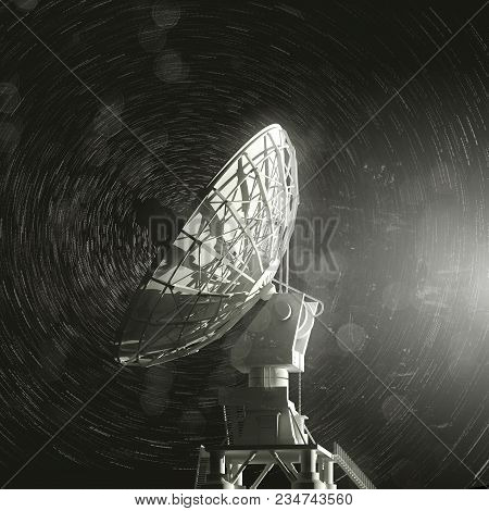 A Single Very Large Radio Telescope Pointing Up Towards The Stars. 3d Illustration