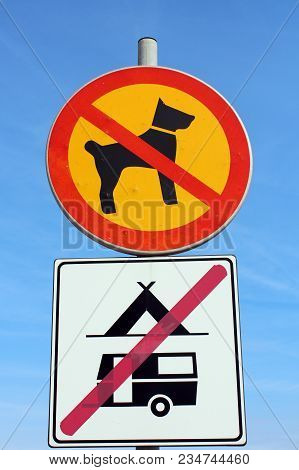 No Dogs Allowed And No Camping Allowed Signs On Clear Blue Sky Background