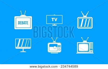 Tv Icon Set. Simple Set Of Tv Vector Icons For Web Design Isolated On Blue Background