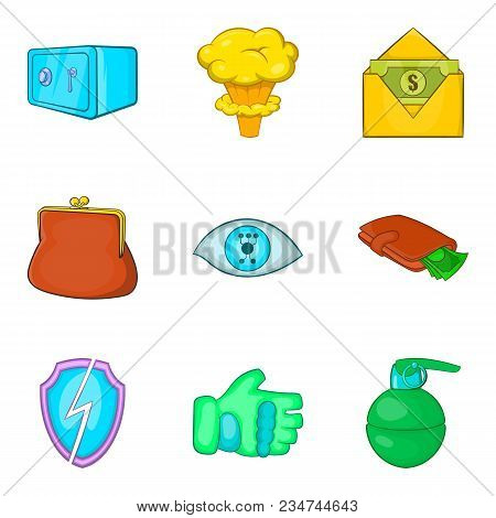 Gross Carelessness Icons Set. Cartoon Set Of 9 Gross Carelessness Vector Icons For Web Isolated On W
