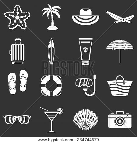 Summer Rest Icons Set Vector White Isolated On Grey Background