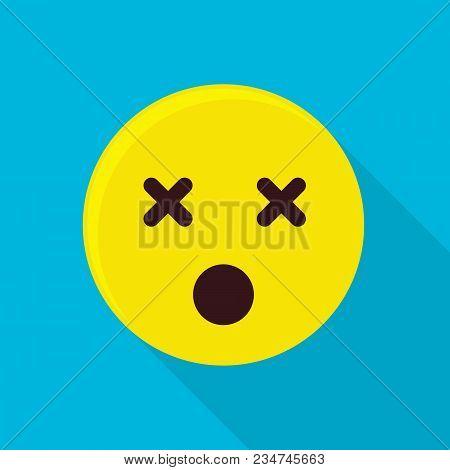 Dead Emoticon Icon. Flat Illustration Of Dead Emoticon Vector Icon For Web