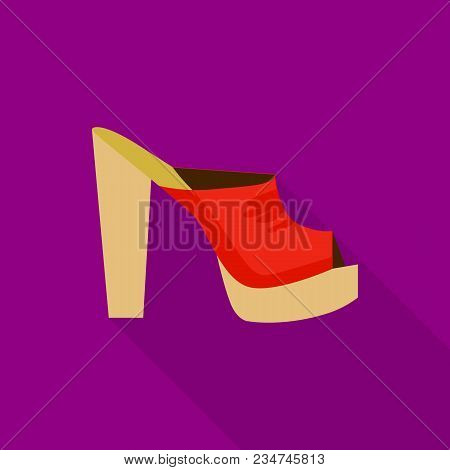 Heeled Sandal Icon. Flat Illustration Of Heeled Sandal Vector Icon For Web
