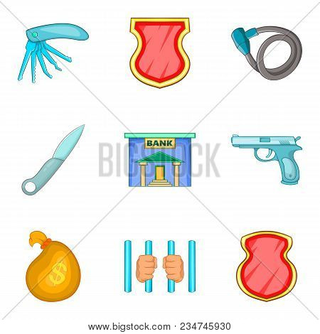 Criminal Activity Icons Set. Cartoon Set Of 9 Criminal Activity Vector Icons For Web Isolated On Whi