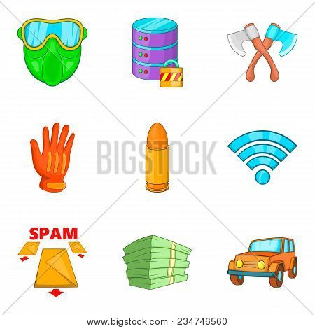 Criminal Act Icons Set. Cartoon Set Of 9 Criminal Act Vector Icons For Web Isolated On White Backgro