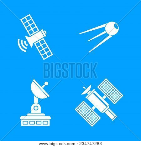 Satellite Icon Set. Simple Set Of Satellite Vector Icons For Web Design Isolated On Blue Background