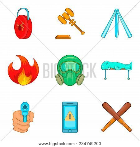 Illegal Action Icons Set. Cartoon Set Of 9 Illegal Action Vector Icons For Web Isolated On White Bac