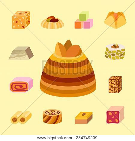 Collection Of East Delicious Dessert Sweets Food Confectionery Homemade Assortment Vector Illustrati