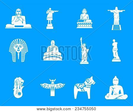 Statue Icon Set. Simple Set Of Statue Vector Icons For Web Design Isolated On Blue Background