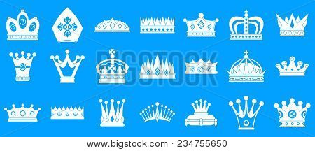 Crown Icon Set. Simple Set Of Crown Vector Icons For Web Design Isolated On Blue Background
